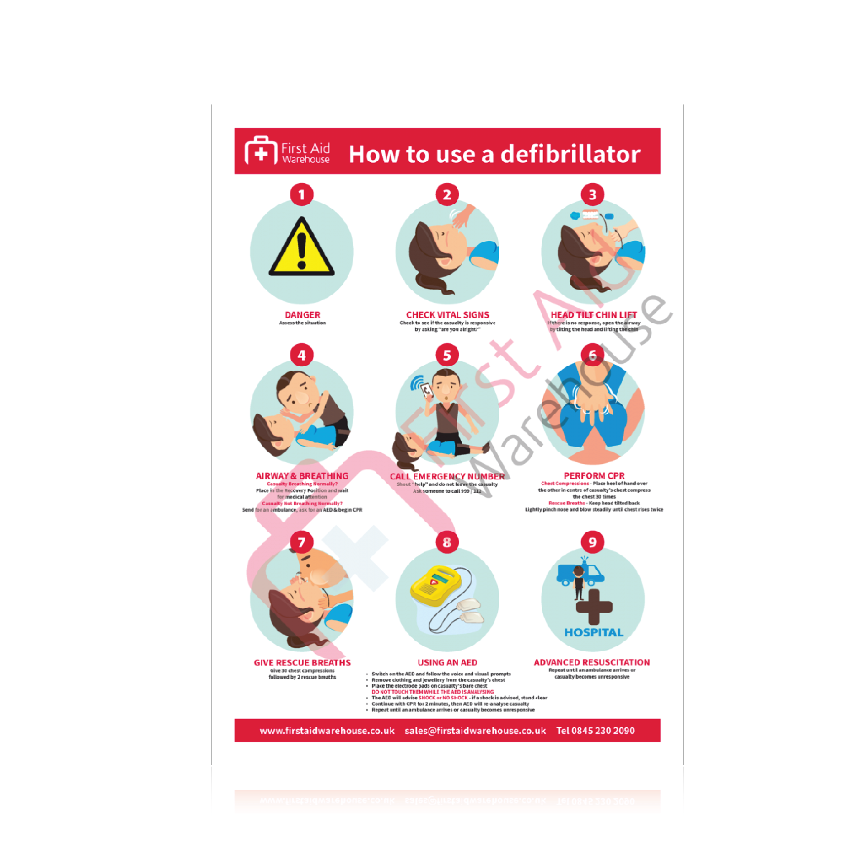 FAW How to Use A Defibrillator Laminated Poster 420mm x 297mm (Each)